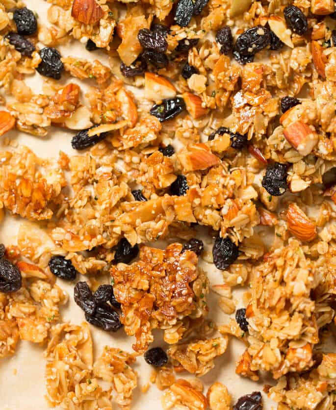 My favorite gluten free granola recipe, made with plenty of good olive oil, raw almonds, pumpkin and hemp seeds, coconut, maple syrup and oats. Make it your own, with your favorite nuts and seeds!