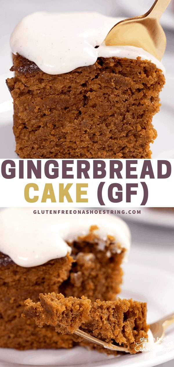 Slice of gingerbread cake with a fork and a closeup image of a forkful of cake