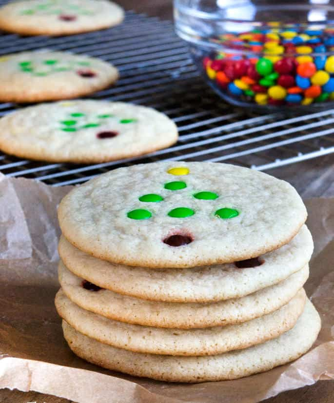 Baking these chewy gluten free sugar cookies in a low oven keeps the cookies pale and tender, without crisping the edges much at all. The result is the perfect chewy sugar cookie—holiday decorations entirely optional!