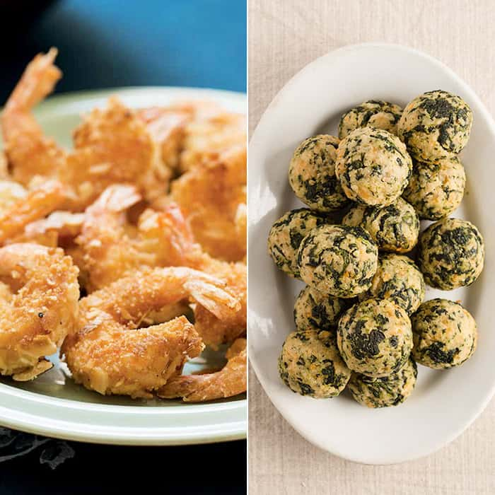 Gluten free coconut shrimp and spinach balls—made with homemade gluten free bread crumbs. From Gluten Free Small Bites, the cookbook!
