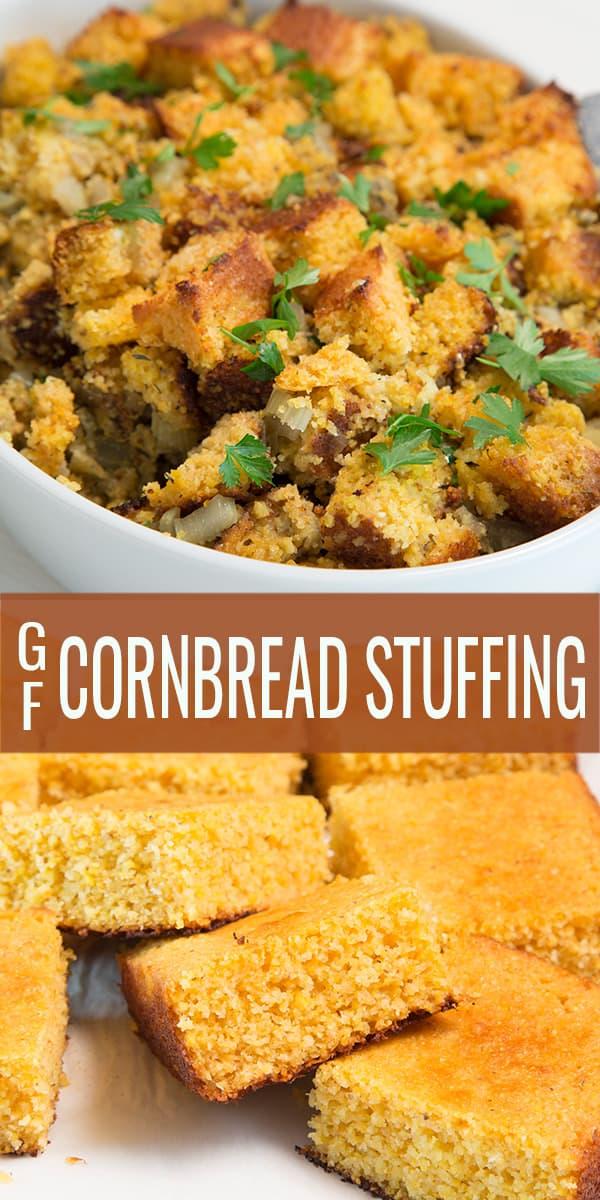 A platter of cornbread stuffing with cornbread pieces below