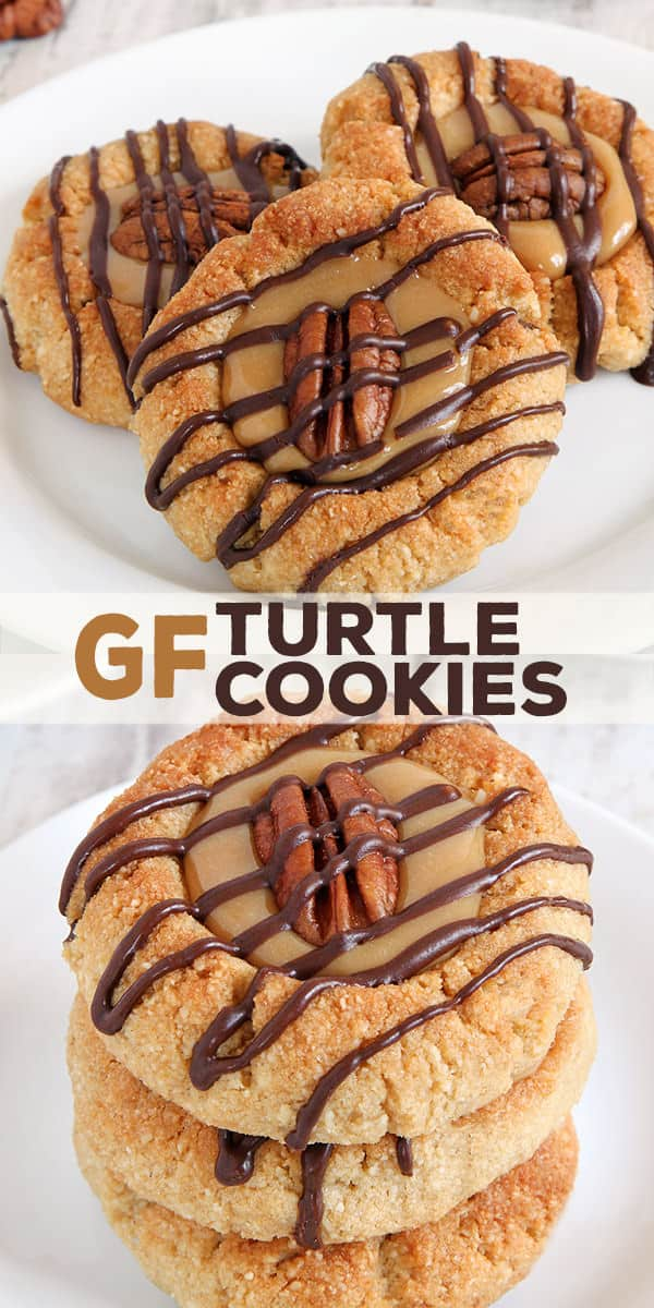 Grain Free turtle cookies have all the taste of chocolate turtles in a neat little thumbprint cookie. Chocolate, caramel and pecans are a classic combination for good reason!