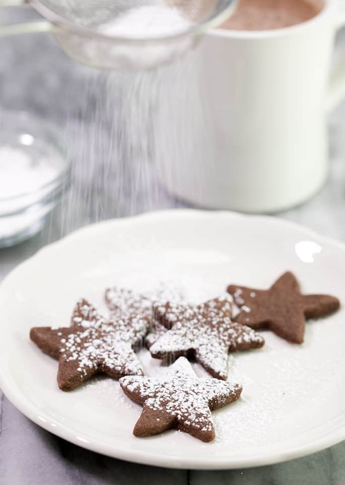 Chocolate shortbread cookies with powdered sugar on white plate