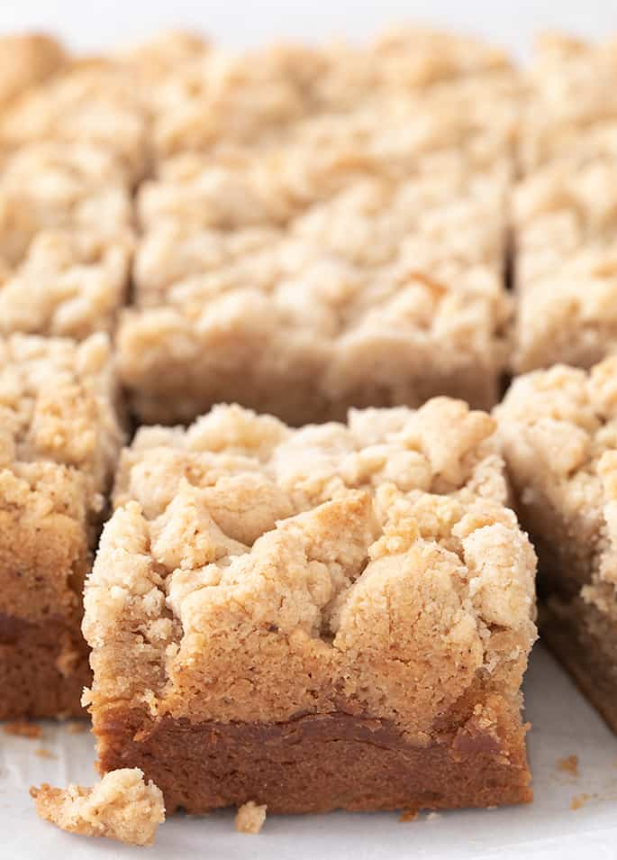 Baked sour cream coffee cake on white paper