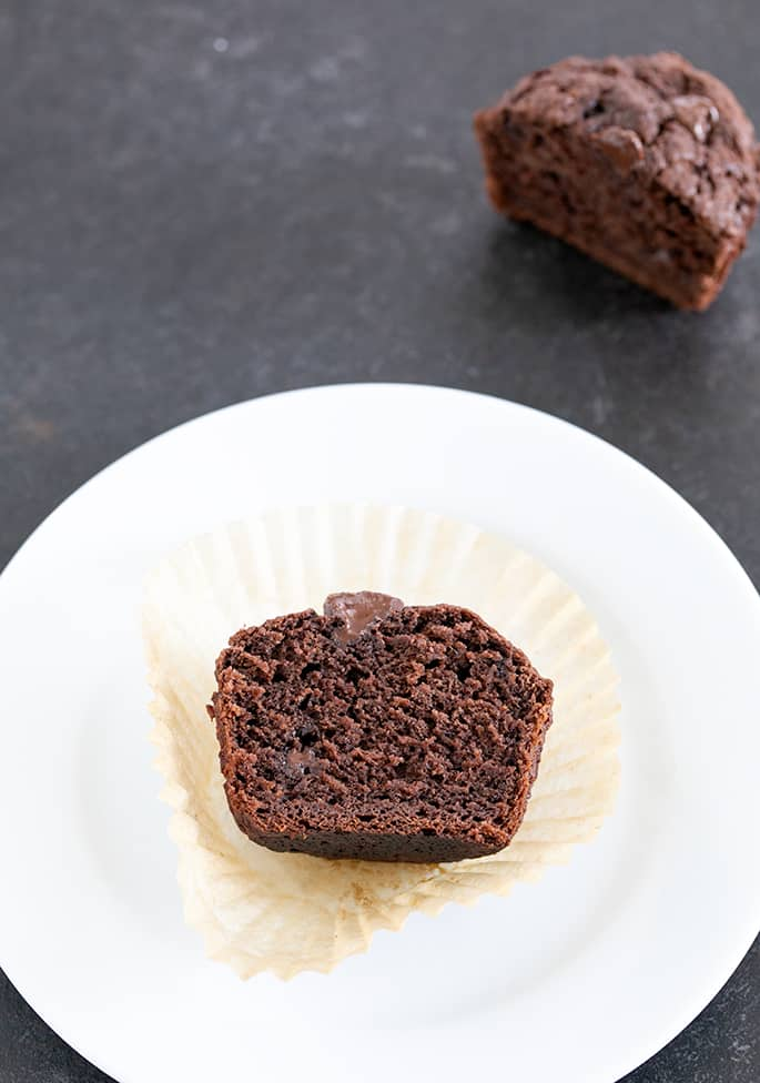 Chocolate muffin sliced in half on a plate