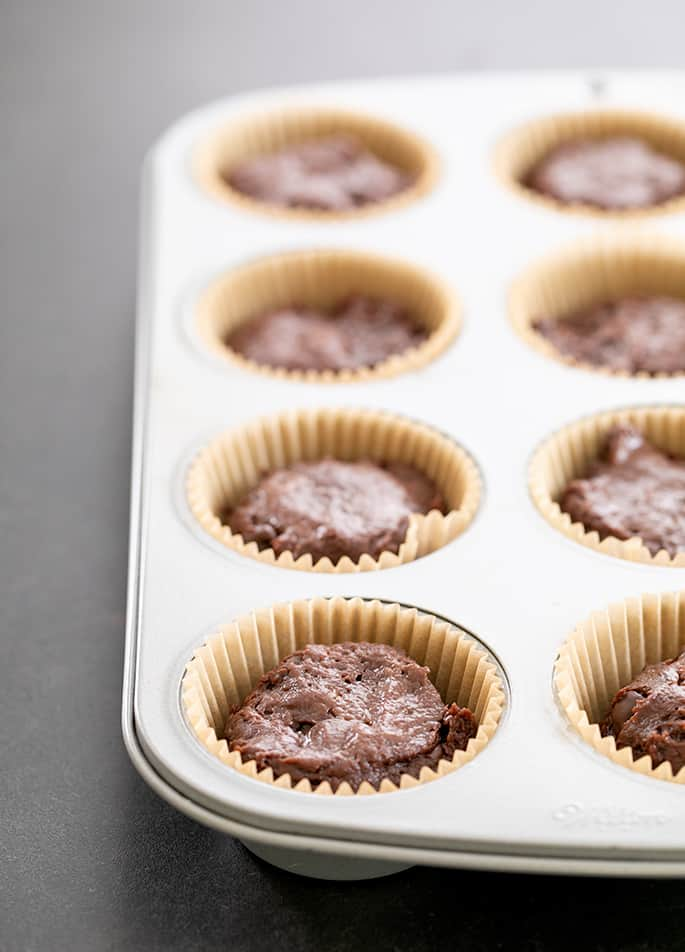 Chocolate muffins raw in pan