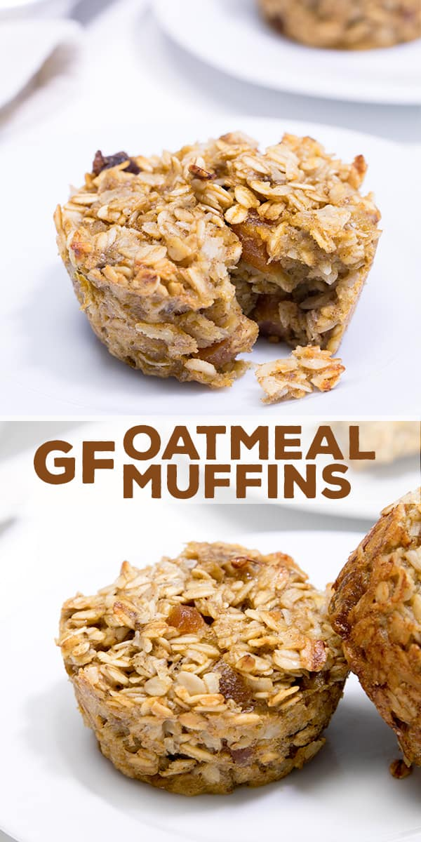 An oatmeal muffin on a white surface with an oatmeal muffin leaning against another oatmeal muffin on a white plate below.