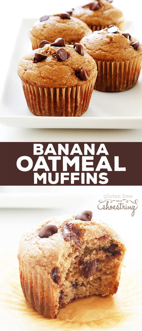 part of a banana oatmeal muffin and the top of a banana oatmeal muffin with chocolate chips on surface