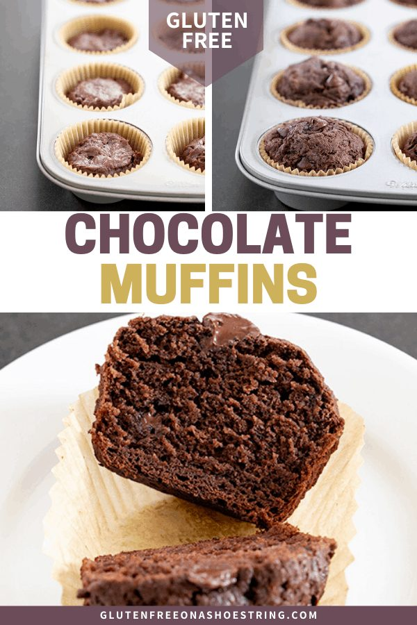 Gluten Free Chocolate Muffins raw, baked and sliced