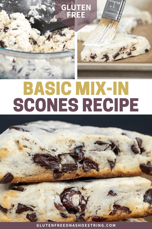 Raw scones mix in bowl, shaped scone being brushed, and baked scones in a stack