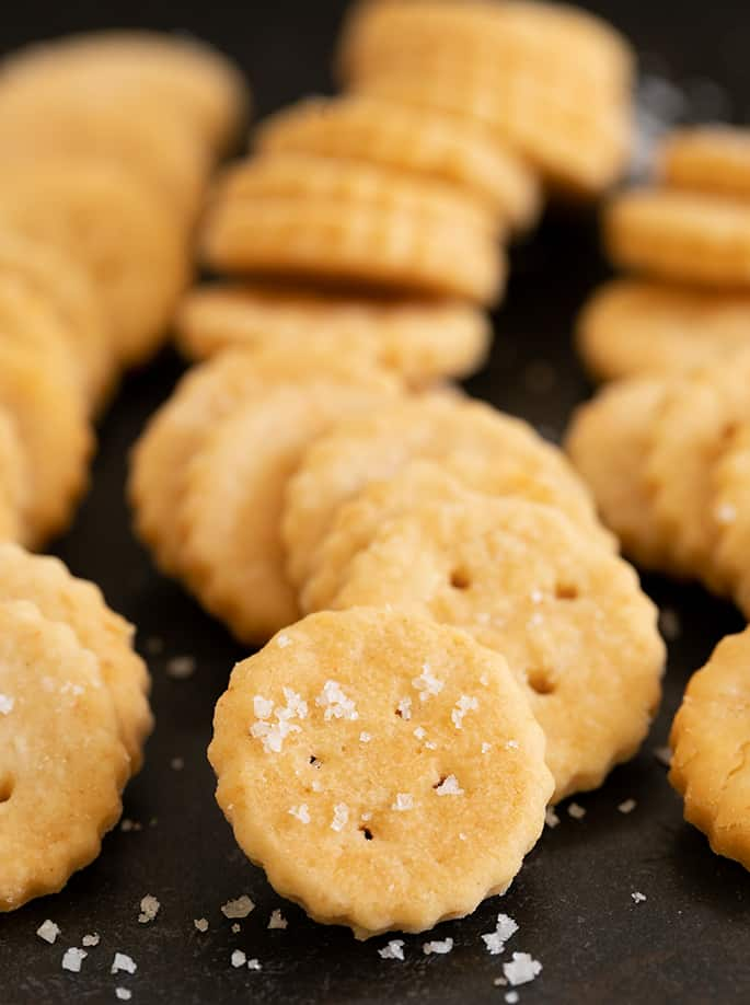Ritz crackers in piles laying on their sides