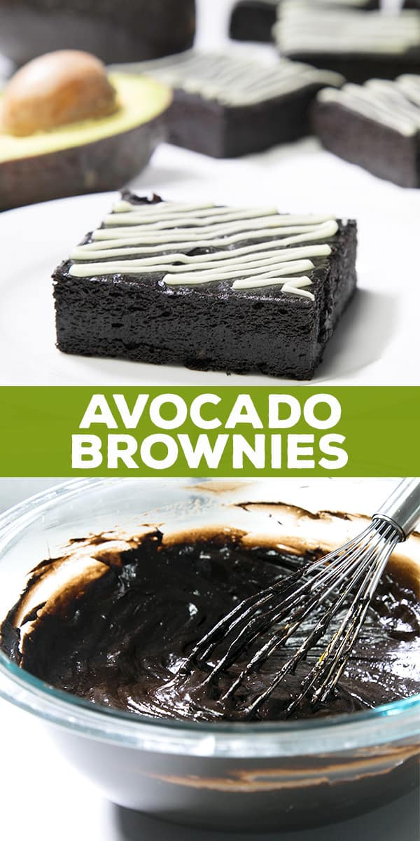 One avocado brownie with white zigzag patter on top on a white surface and avocado brownie batter in bowl with whisk