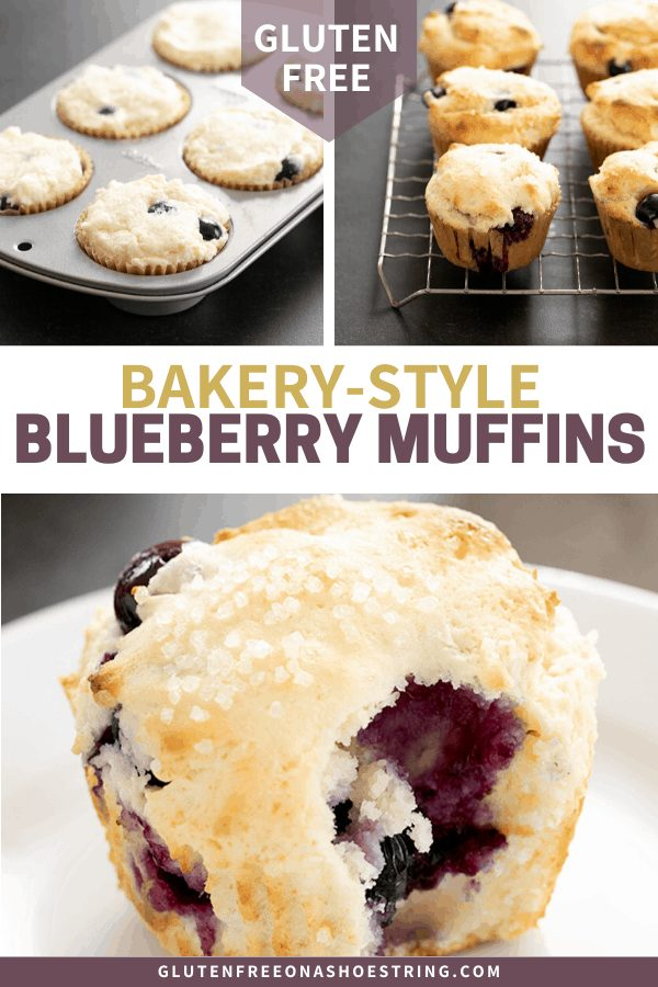 three images of gluten free bakery style gluten free muffins, one plated, one on a rack, one in the pan