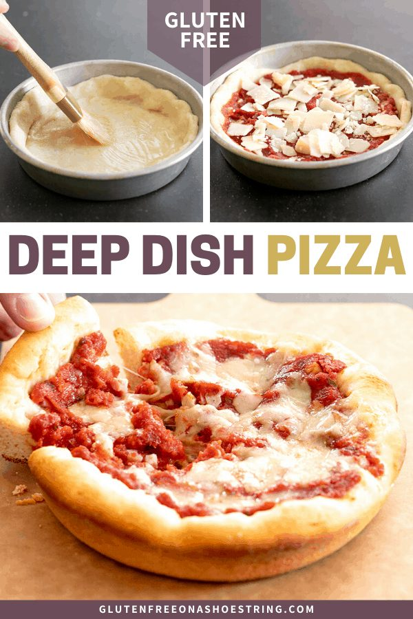 Raw deep dish pizza, and baked with a hand taking a slice