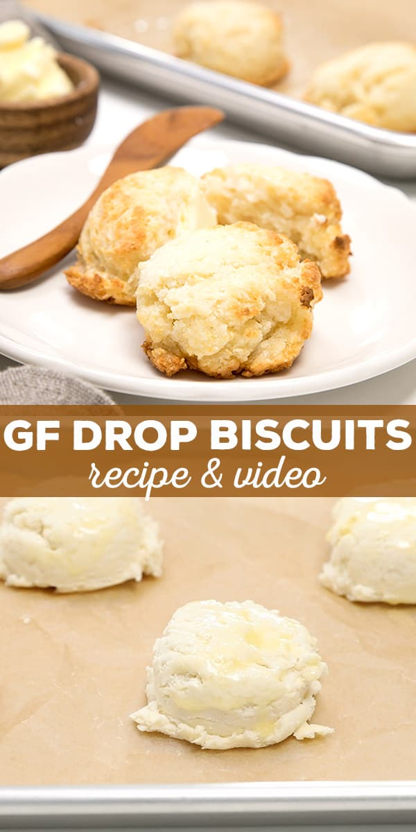Tender and light gluten free drop biscuits are ready in 20 minutes, start to finish. They may not be flaky and layered, but you can't beat the taste or the convenience!