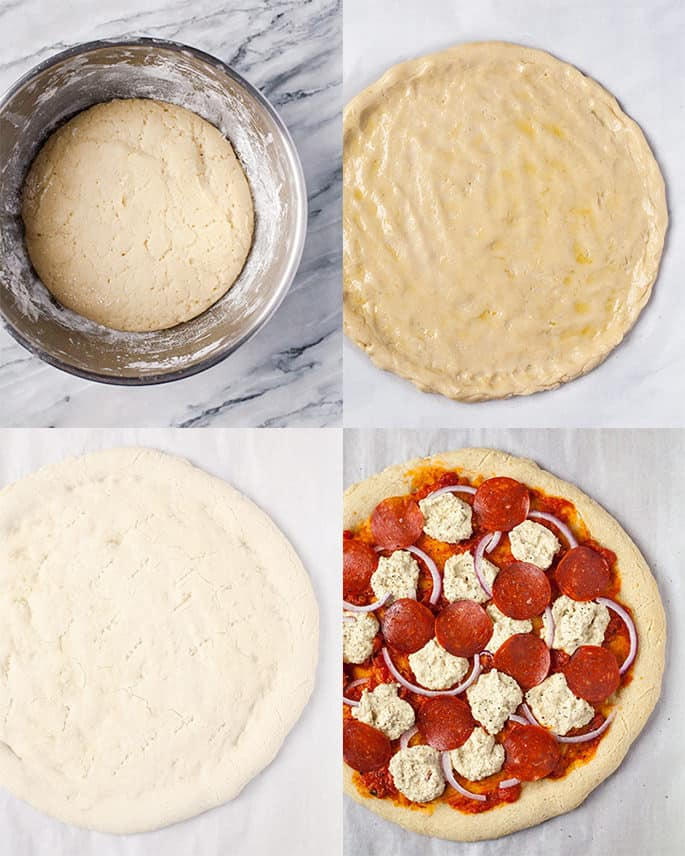 Dough for Paleo pizza unshaped, shaped, baked and topped