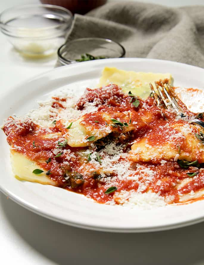Homemade gluten free ravioli are way easier to make than you might think. And they freeze perfectly!