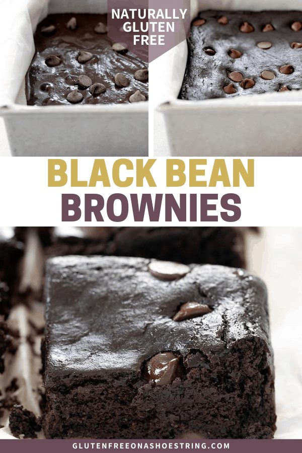 Black Bean Brownies raw in pan, baked in pan, and cut into squares