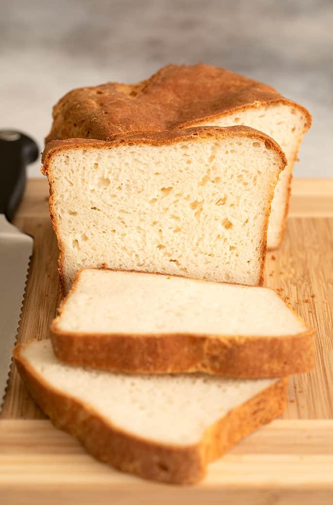 Slice of English muffin bread facing forward