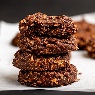 Stack of 4 chocolate oat cookies 315x315