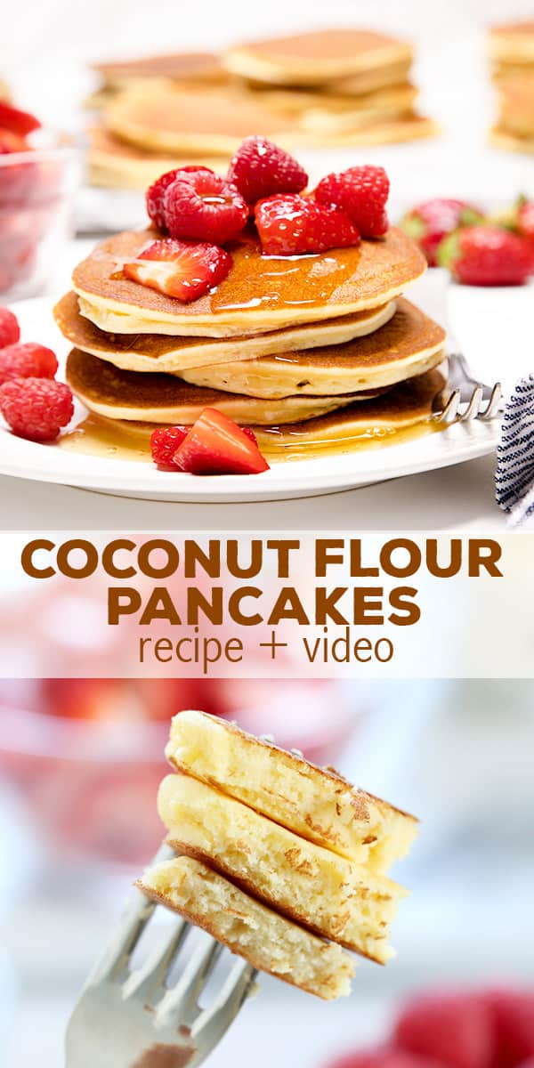 A stack of coconut flour pancakes on a plate and a bite on a fork