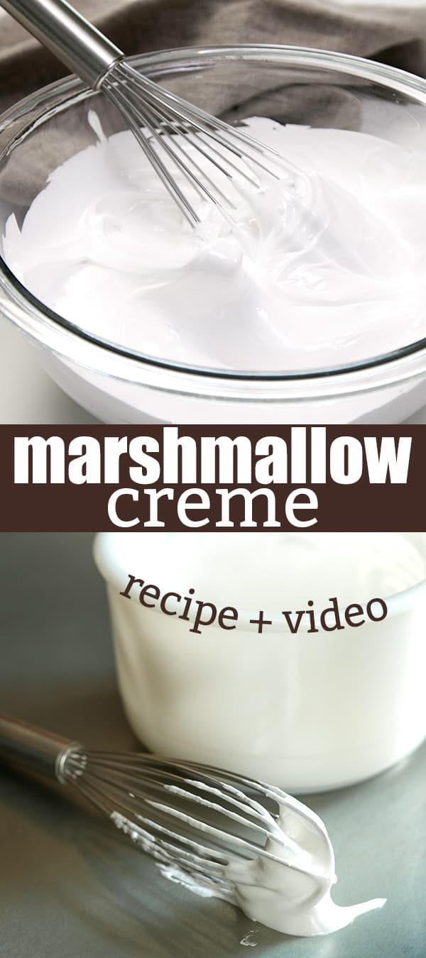 There are only 5 ingredients (including water!) in this simple recipe for homemade marshmallow creme, the soft, spreadable fluff that makes the best fudge, and even no churn ice cream!