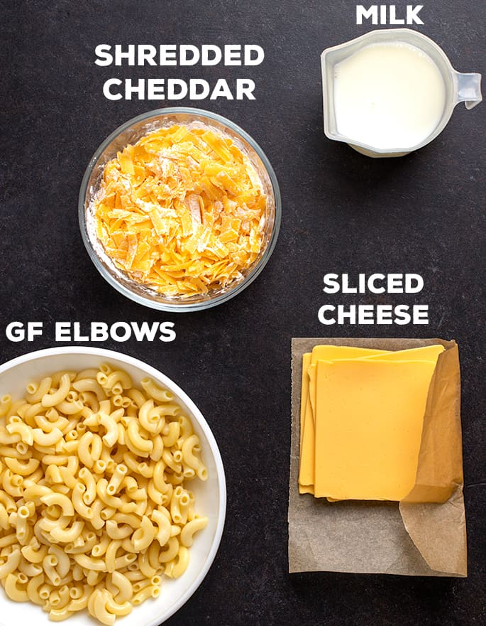 Words shredded cheddar above bowl, word milk above measuring cup words gf elbows above bowl, sliced cheese above slices on brown paper