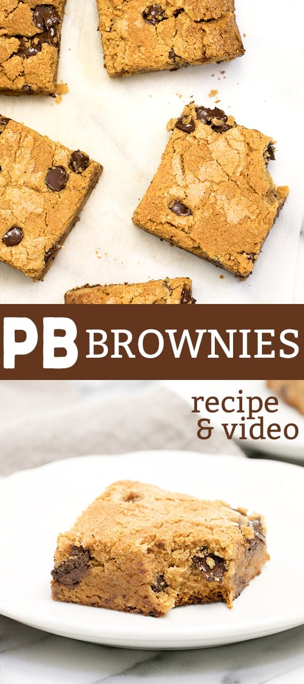 Chewy, fudgy peanut butter brownies are the bar for true peanut butter lovers. The perfect brownie texture, topped with your favorite chips!