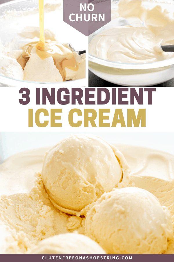 pouring condensed milk into whipped cream, unfrozen ice cream, and scoops of frozen ice cream