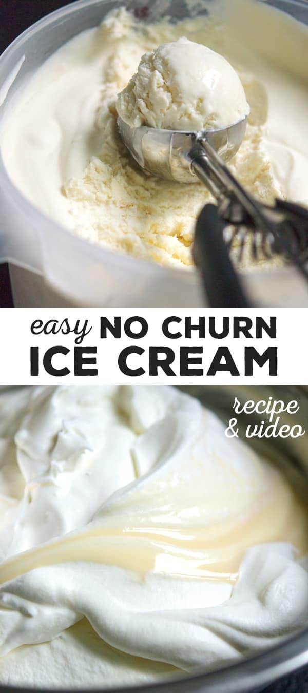 A tub of 3 ingredient no churn vanilla ice cream and a bowl mixing the ingredients
