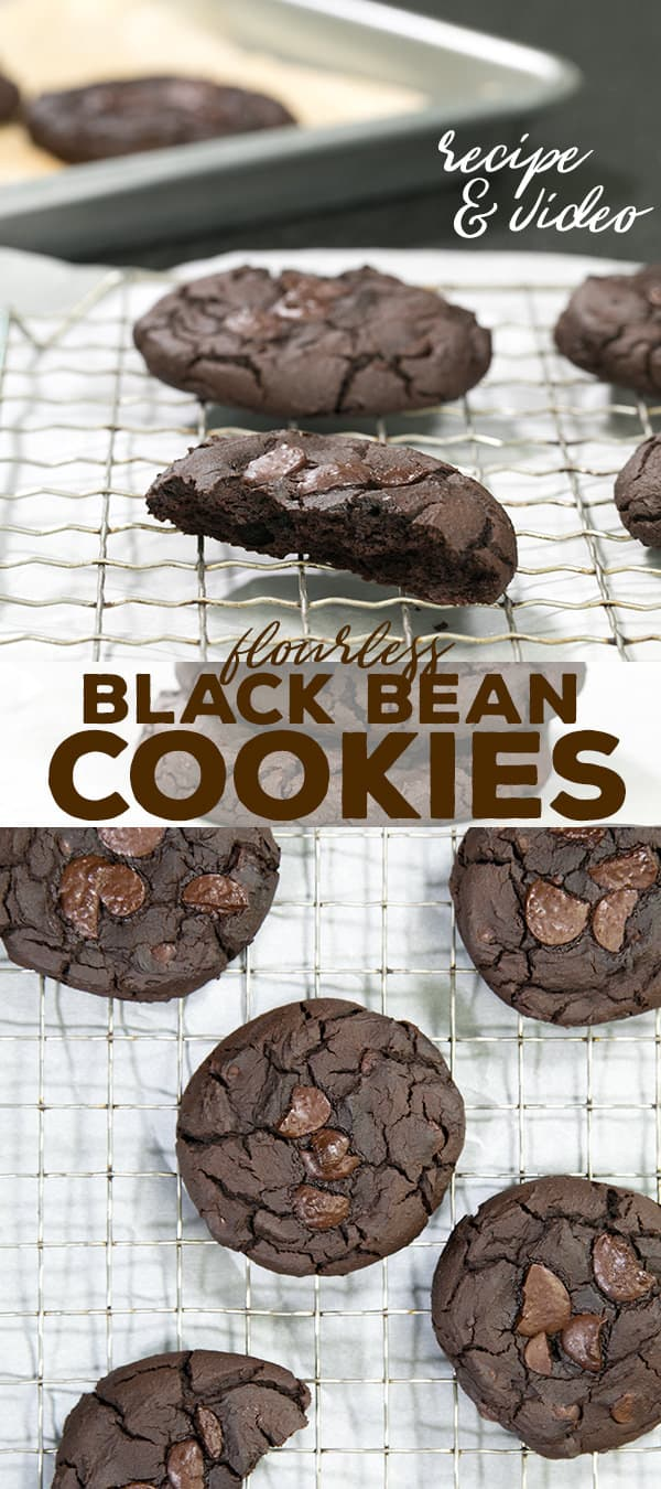 Incredibly fudgy, rich chocolate black bean cookies have absolutely no flour of any kind. They'll never about the beans if you don't tell them!
