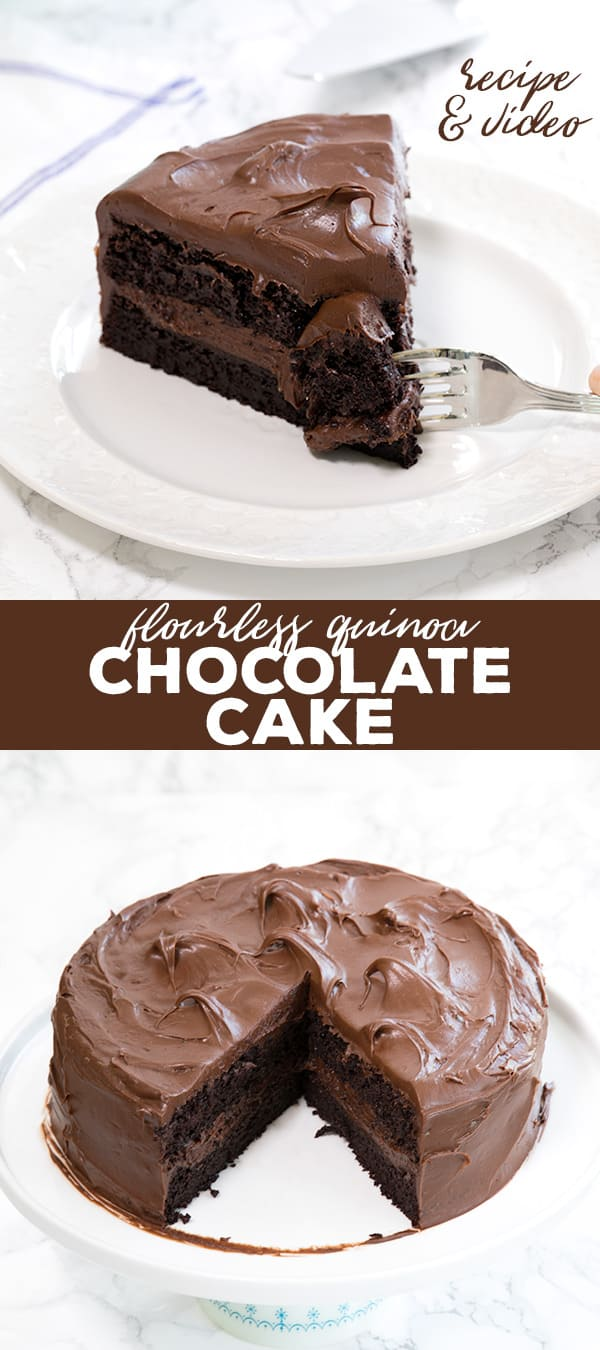 This decadent quinoa gluten free chocolate cake super moist and fudgy, and not too rich. Plus, it's naturally dairy free and gluten free!