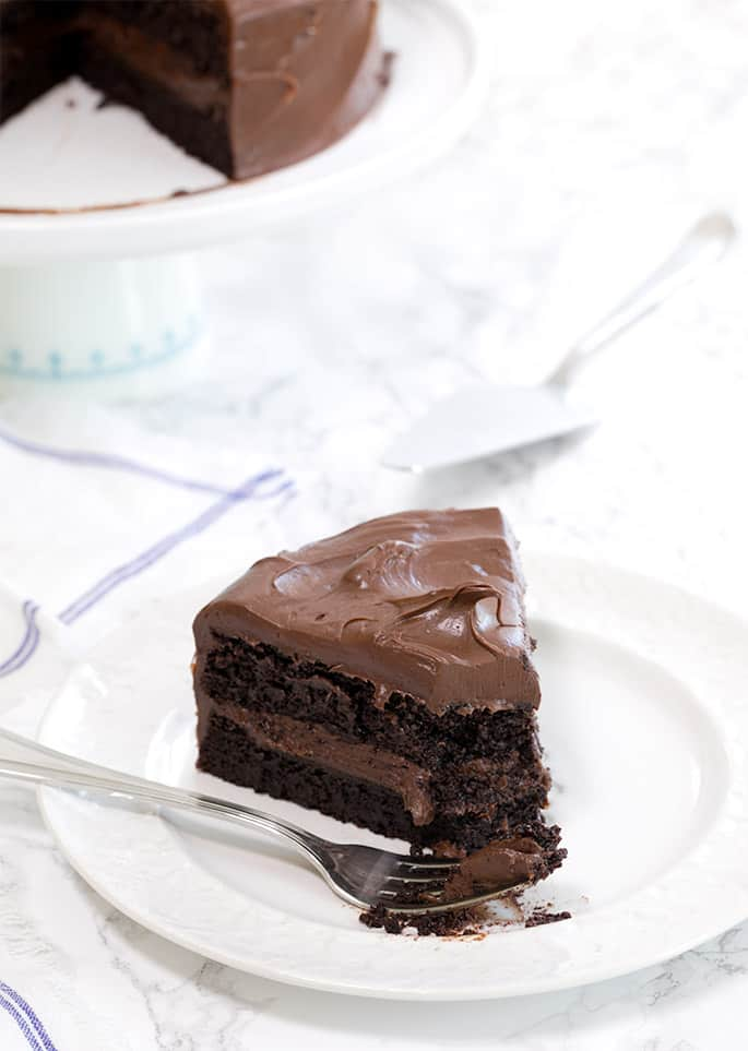 This decadent quinoa gluten free chocolate cake super moist and fudgy, flourless, and not too rich. Plus, it's naturally dairy free and gluten free!