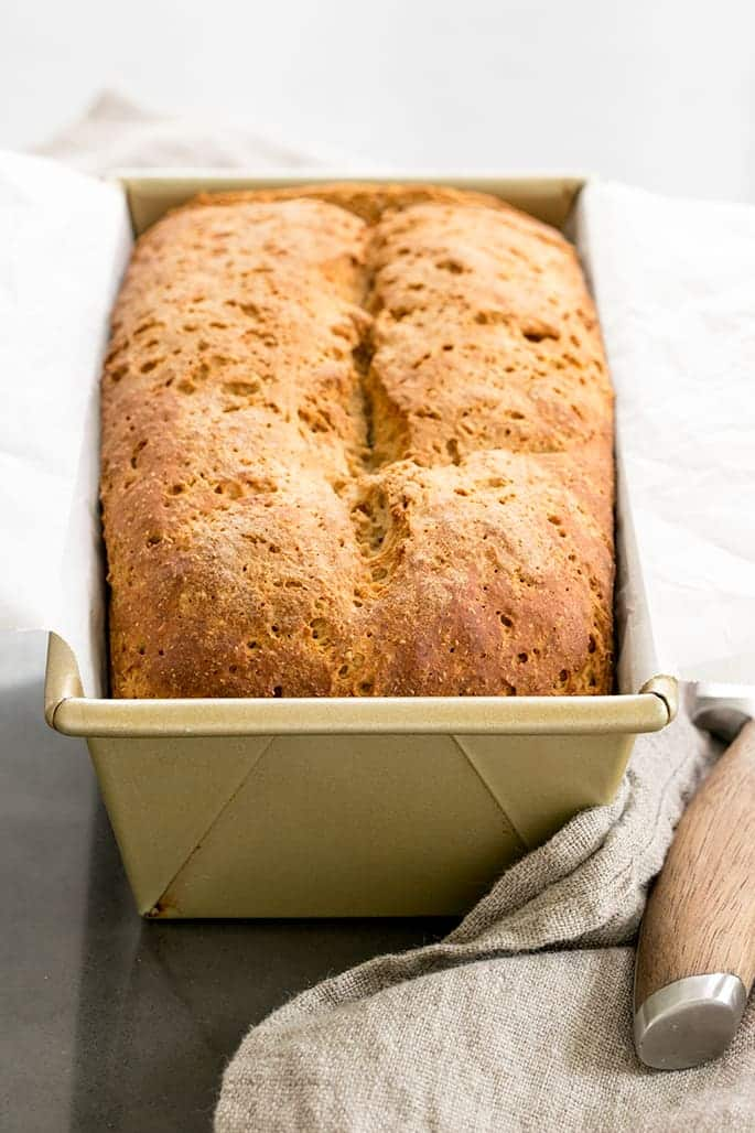 """Hearty and """"wheat-y"""" tasting, this gluten free brown bread recipe is sure to be a family favorite. It couldn't be easier, and you don't need a bread machine!"""