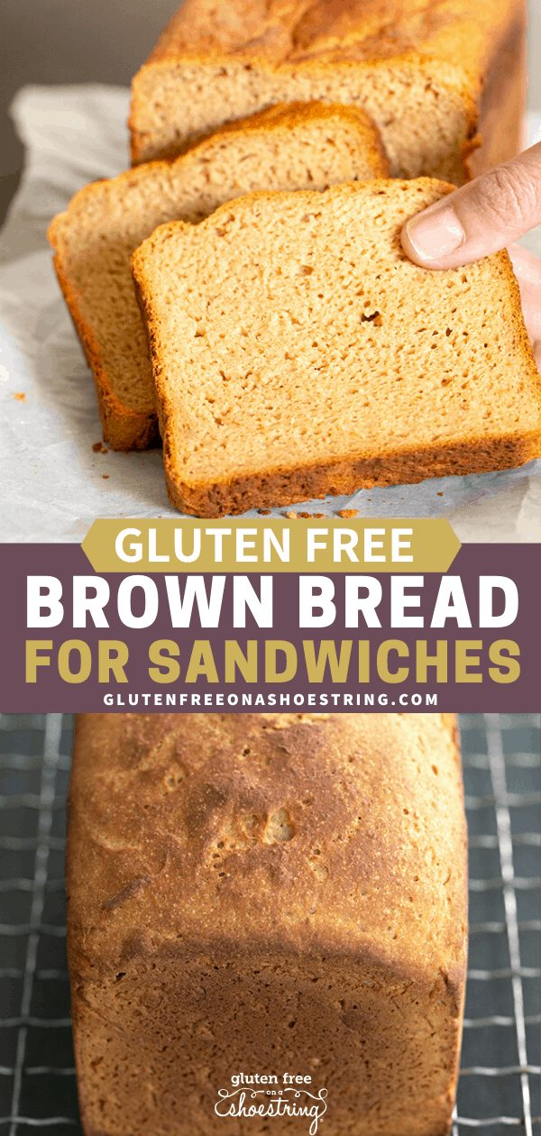 Gluten free brown bread made in a Pullman pan pictured whole and sliced