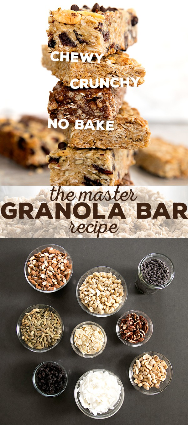 If you've ever wondered how you make homemade granola bars, this master granola bar recipe is for you. Make them chewy, crunchy or even no bake!