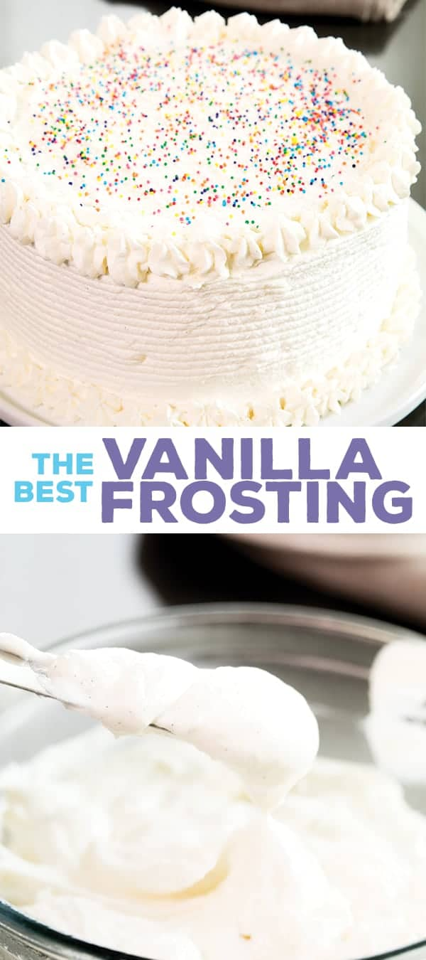 A cake frosted with vanilla ermine frosting and a bowl of the frosting with a spreading knife