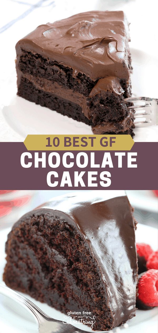 Image of two of the 10 best recipes for gluten free chocolate cake: vegan crazy cake, and flourless quinoa cake.
