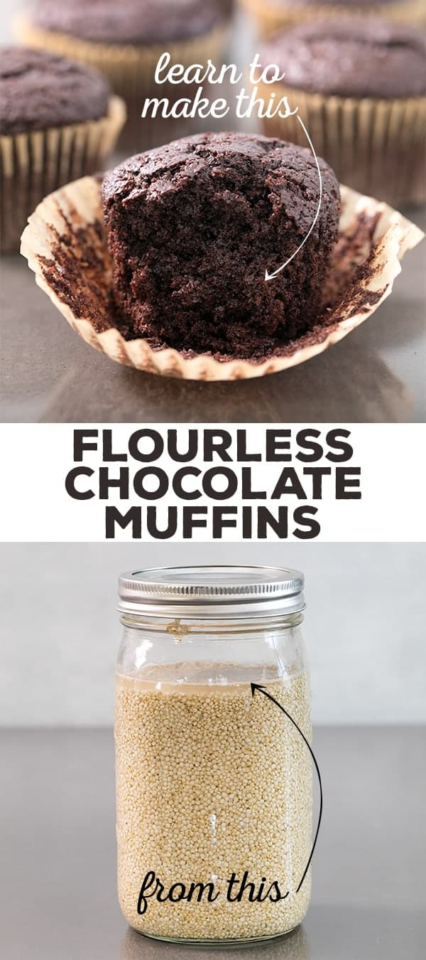 These special flourless chocolate cupcakes are naturally gluten free and dairy free, and rich and incredibly moist. They're made with soaked quinoa instead of any sort of flour, but you'd never know it! #glutenfree #glutenfreerecipes #flourlesscake #chocolatecake
