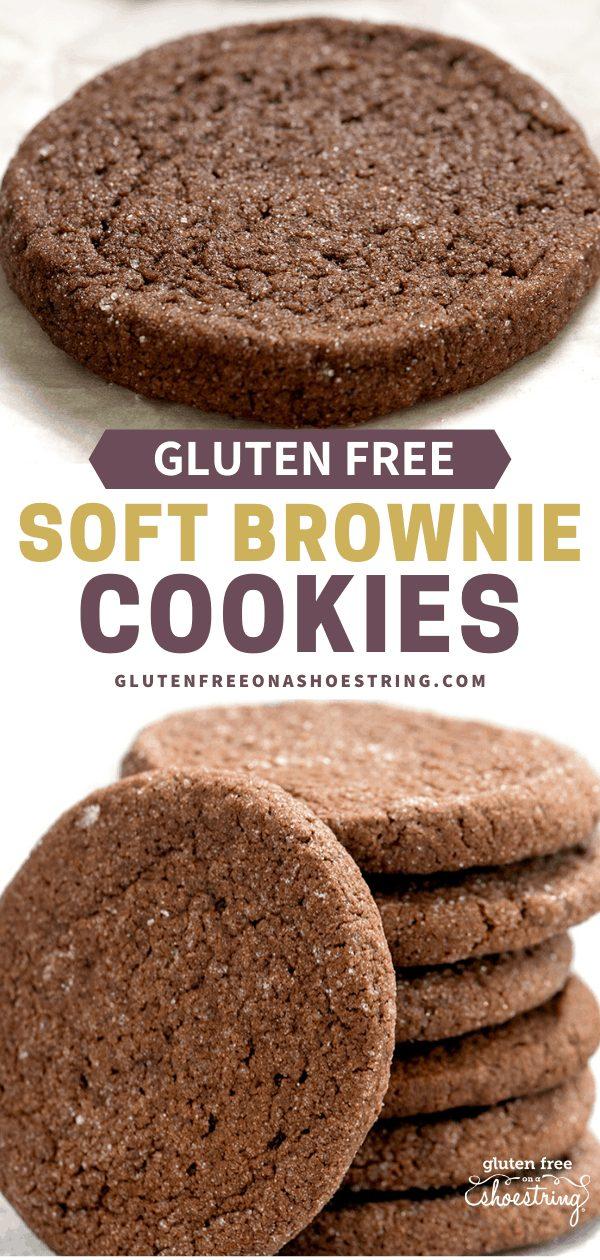 Brownie Cookies with sugar coating single cookie and stack of cookies