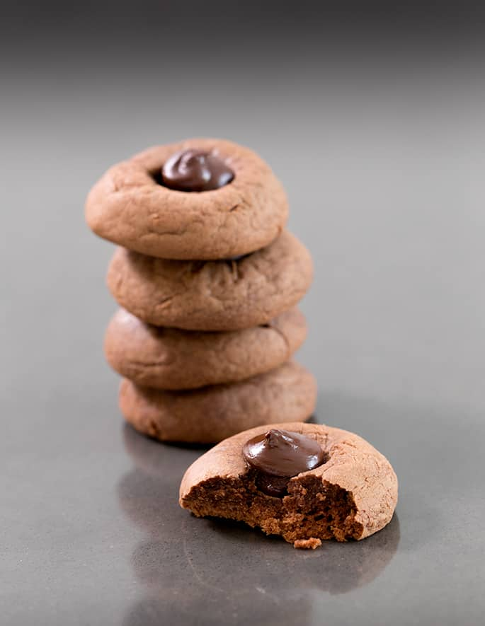 These 3 ingredient Nutella cookies are tender and rich, and could not be easier. Make the quick cookie dough in a food processor, and they're ready to eat in about 15 minutes, start to finish.