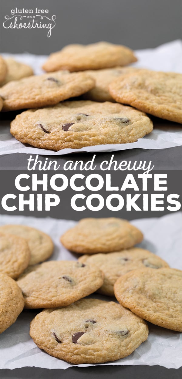 These thin and chewy gluten free chocolate chip cookies are made with plenty of brown sugar, and an extra egg yolk. They're simply perfect for snacking in bed. No crumbs!