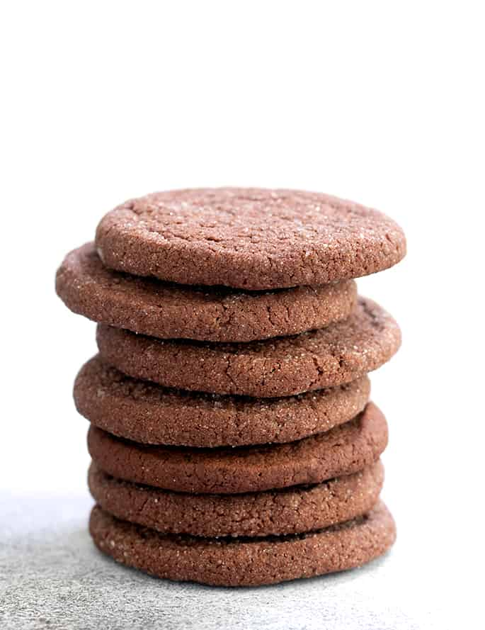 brownie cookies in tall stack