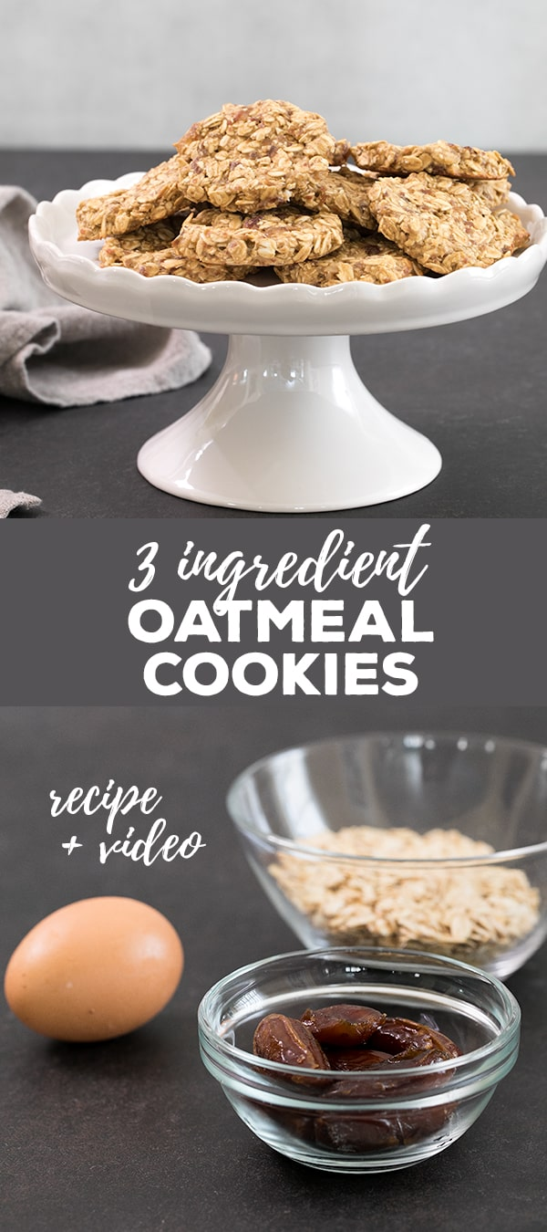 These 3 ingredient oatmeal cookies are low in fat and packed with whole grains.