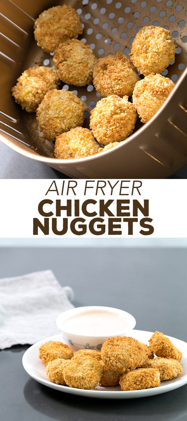These Air Fryer chicken nuggets really are super crispy but made with almost no oil and in just minutes. If you're wondering how to use this new fun appliance, they're a great place to start! #airfryer #glutenfree #lowfat #chicken