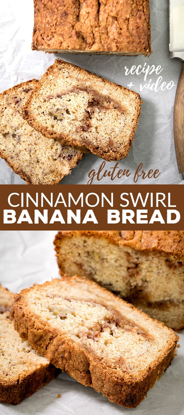 This cinnamon swirl gluten free banana bread is naturally dairy free—and it's incredibly moist and tender. The cinnamon-sugar just seals the deal. It's going to become your new favorite way to save those dying bananas! #glutenfree #dairyfree #bananabread