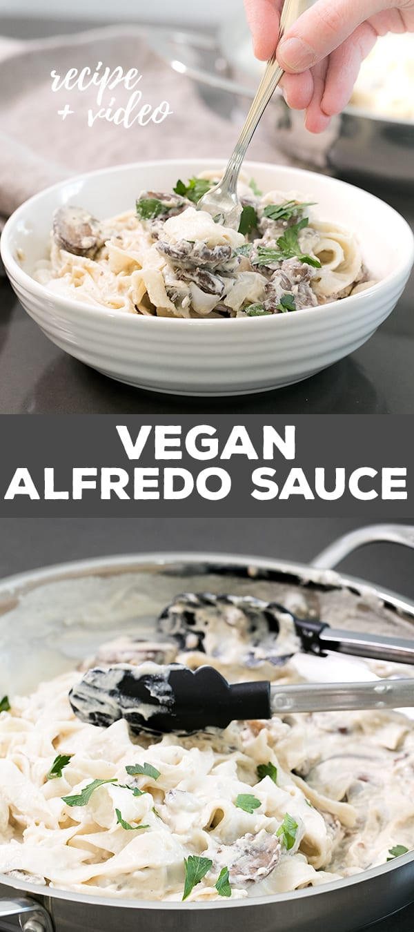 This rich, creamy vegan alfredo sauce is made with cashews and coconut milk, and no nutritional yeast. It even reheats beautifully.