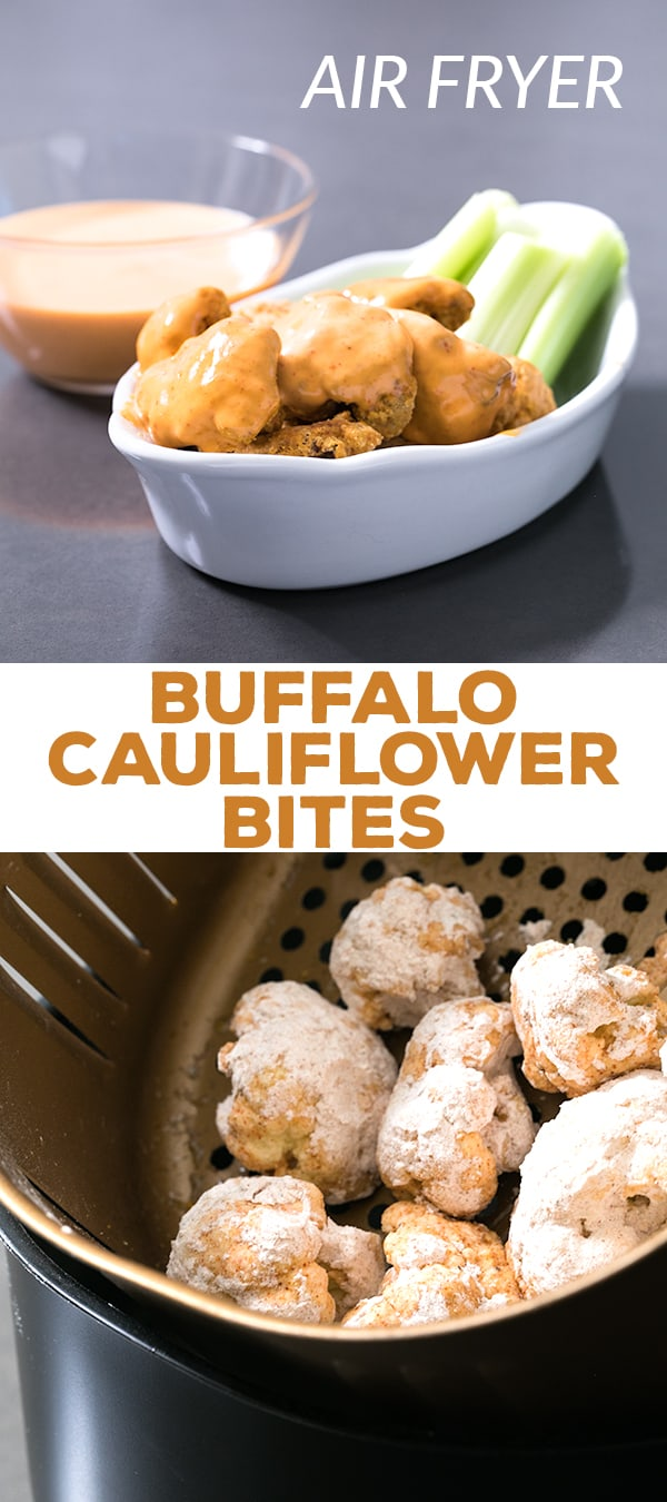 This easy recipe for buffalo cauliflower bites is made in the Air Fryer for a low-calorie, Paleo-friendly appetizer or side dish. Naturally gluten free and dairy-free, too!