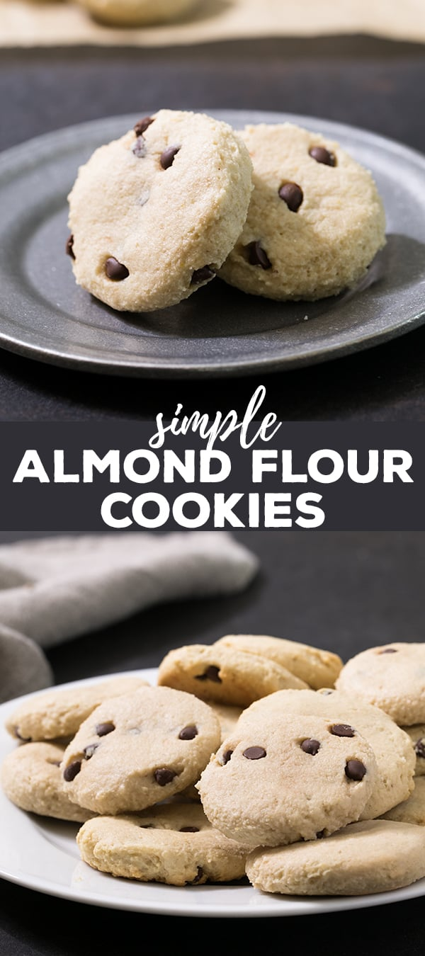 These almond flour cookies are low carb and naturally sweetened and taste like buttery shortbread, but without any butter at all.
