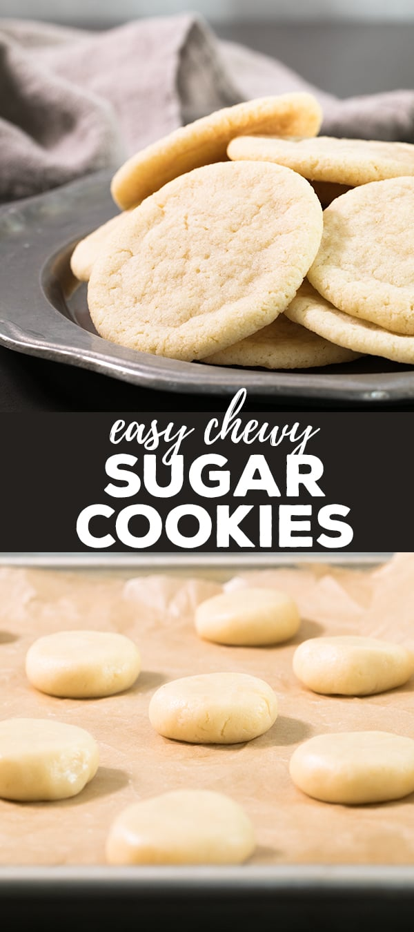 Easy chewy sugar cookies photo for Pinterest with raw cookies on baking tray and baked cookies on a platter.